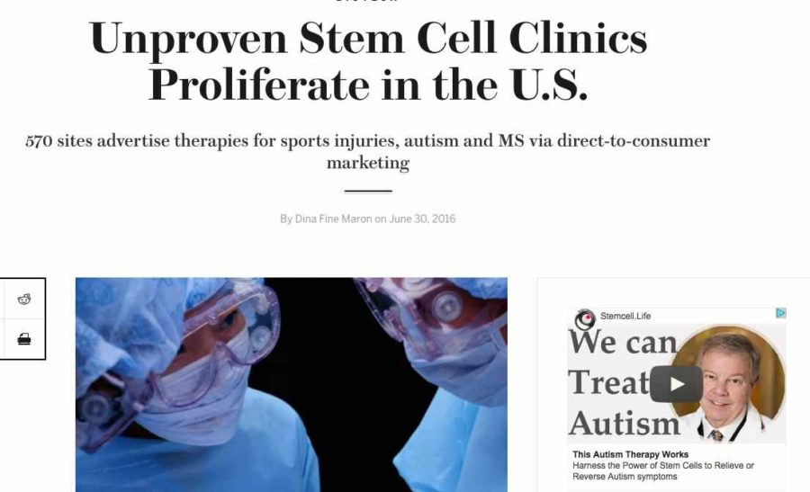 Stem cell clinic advertisement