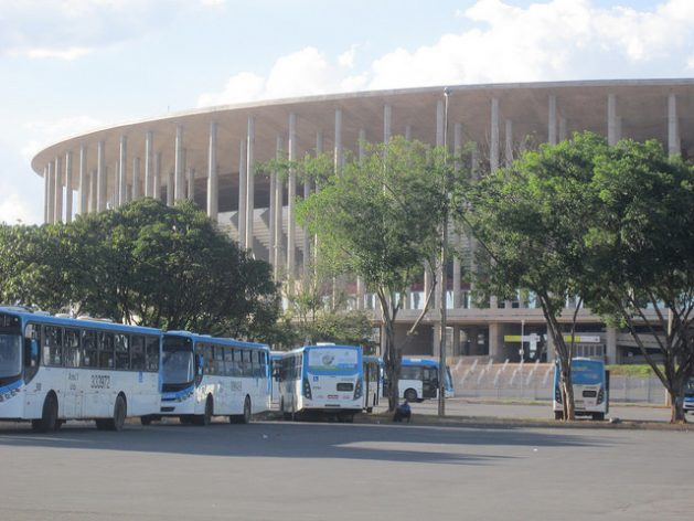 The Mané Garrincha football stadium, one of Brasilia's white elephants, which is currently mainly used for its parking lot, where thousands of buses park for a good part of the day, waiting to take tens of thousands of commuters back to the dormitory cities where they live. Credit: Mario Osava/ IPS