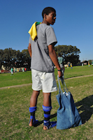 "Delft resident Trinian Davids prepares to represent ""South Korea"" on the final day of the Poor People's World Cup. / Credit: Davison Mudzingwa/IPS"