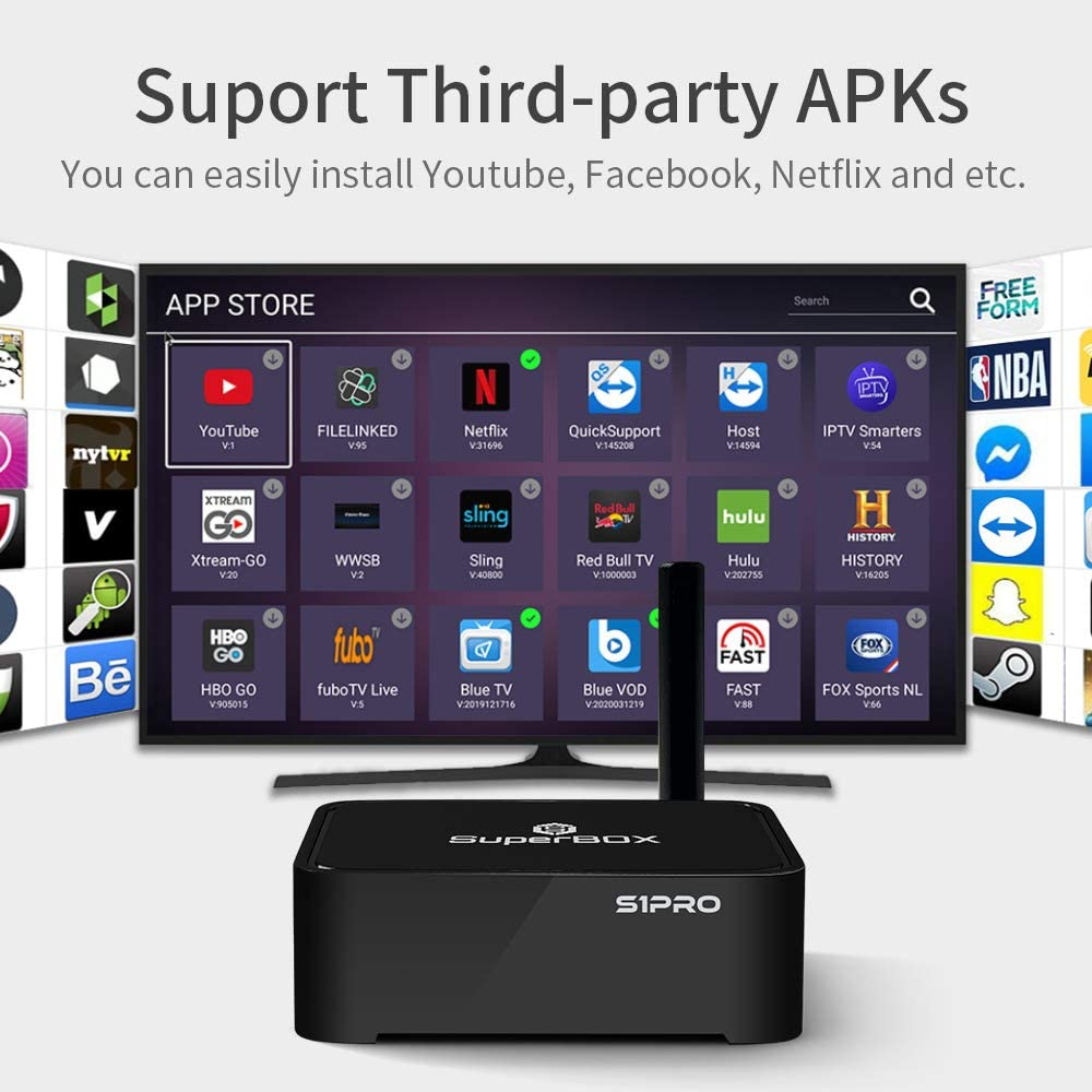 SUPERBOX S1 PRO 2020 Newest Version USA 1000+ American Channel CA Latino Channels Support VOD Movies TV Series