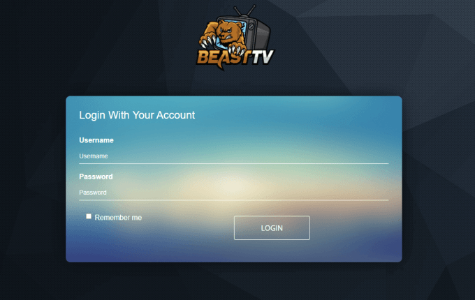 Login web player - Beast IPTV