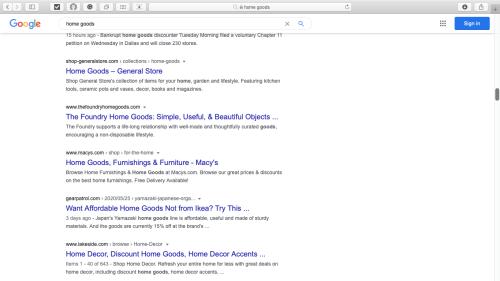 """Capture d'écran : recherche Google localisée aux États-Unis sur l'expression """"home goods"""""""