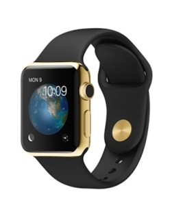 Apple's 38mm 18-Karat Yellow Gold Case with Black Sport Band.