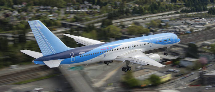 In this photo taken from a chase plane, the Boeing ecoDemonstrator 757 flight test airplane --with NASA's Active Flow Control technology installed on the tail -- makes a final approach to King County Boeing Field in Seattle, Washington.