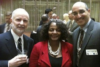 Hirshfeld (right) with then Deputy Director Sharon Barner and John White (left) at Bayh Dole 30 celebration at the PTO.