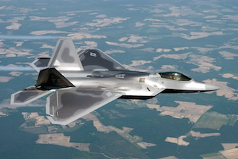 """Lockheed Martin F-22"" by U.S. Air Force/Tech. Sgt. Ben Bloker. Public Domain."