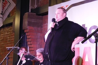 Kim Dotcom at a political rally. Photo taken at a rally held by the Internet Mana Party on 4 August 2014. CC 3.0.