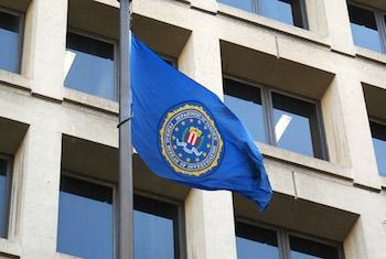 FBI flag flown at FBI headquarters, J. Edgar Hoover Building, Washington, DC.