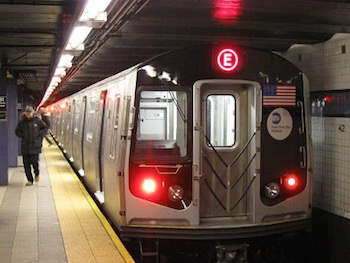 """NYC Subway R160A 9237 on the E"" by AEMoreira042281. Licensed under CC BY-SA 3.0."