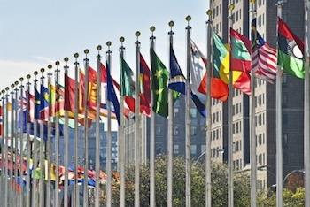 lags of the world outside of The United Nations Building in New York City.