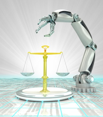 Scales of Justice with Robot Arm