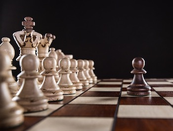 Chess board with pawn