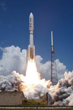 """""""Atlas V Rocket Launches with Juno Spacecraft"""" by NASA HQ Photo. Licensed under CC-NC-ND 2.0."""