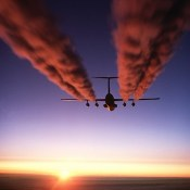 """""""A C-141 Starlifter Leaves Contrails over Antarctica"""" by U.S. Air Force. Public domain."""