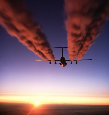 """A C-141 Starlifter Leaves Contrails over Antarctica"" by U.S. Air Force. Public domain."