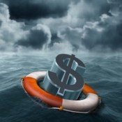 illustration of a dollar symbol being saved from stormy weather