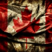 Dirty crumpled Canadian Flag