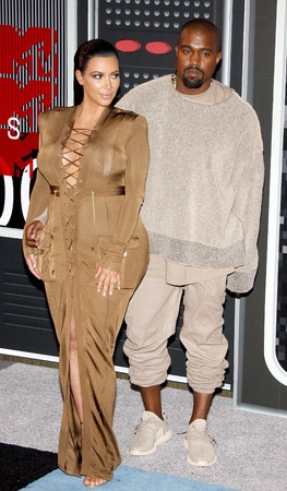 Kanye West with Kim Kardashian at the 2015 MTV Video Music Awards held at the Microsoft Theater in Los Angeles, USA.