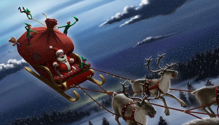 Santa w/ reindeer pulling sleigh