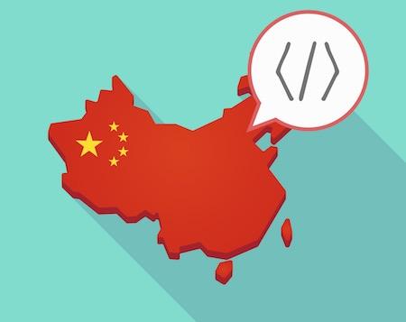 China map with code symbol