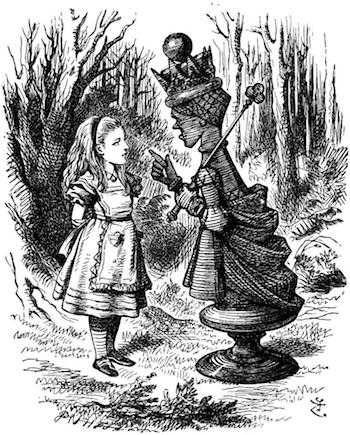 The Red Queen lectures Alice.