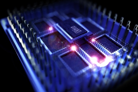 Quantum processor illustration  quantum computing theme  3d rendered model of the processor  superconducting chip  technology illustrations collection