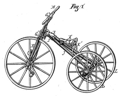 Fig. 1 from U.S. Patent No. 171,623, titled Improvement in Velocipedes.