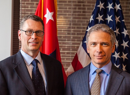 USPTO Director Andrei Iancu (right) and OED Director Will Covey (left), in the Director's Office, August 27, 2018.