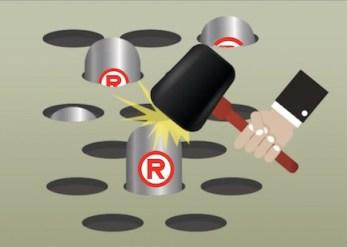 fraudulent trademark - https://depositphotos.com/199681934/stock-illustration-business-people-mole-hitting-game.html