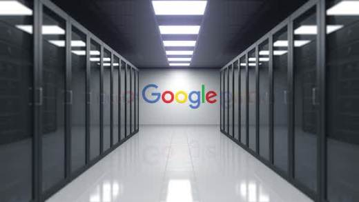 Google logo on the wall of the server room. Editorial 3D.