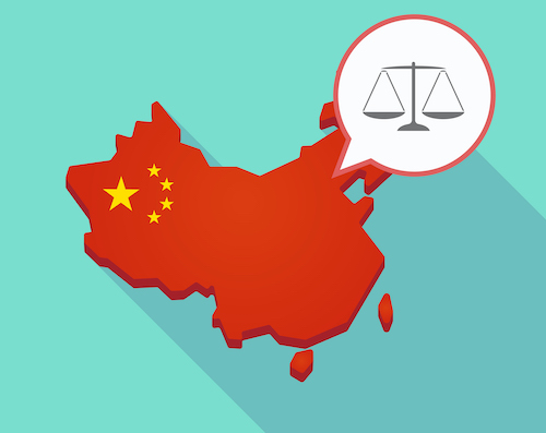 Illustration of a long shadow map of China, its flag and a comic balloon with a justice weight scale sign