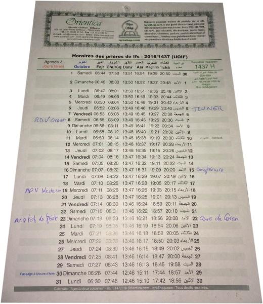 calendrier musulman heures des prieres 2021 1442 1443 de l hegire pour votre ville avec 2 colonnes agenda horaires uoif