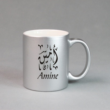 tasse personnalisee argentee mug avec prenom message