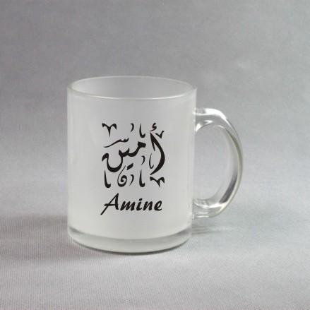 tasse en verre depoli mug personnalise avec l inscription de votre choix