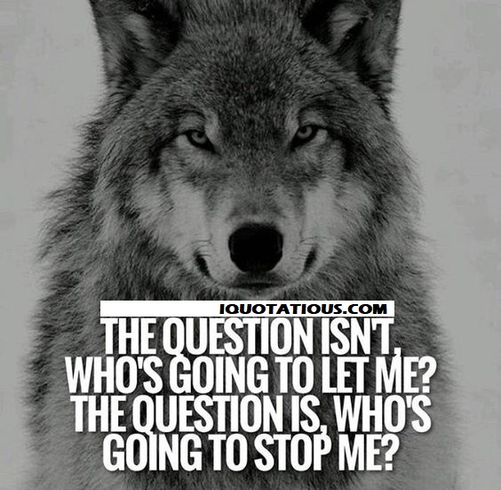 The question isn't who's going to let me? The question is, who's going to stop me?
