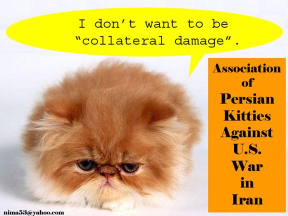 Persian kitties against US-Iran war, cartoon