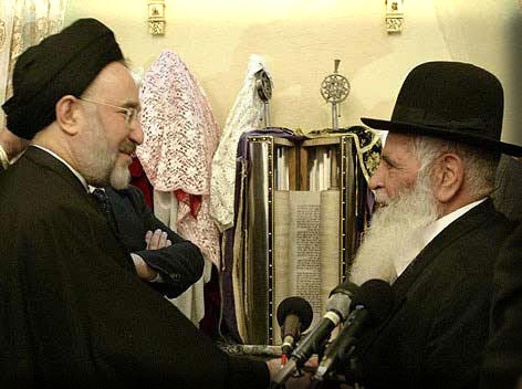 Former Iranian President Mohammad Khatami meeting with Hakham Yousef Hamadani Cohen, the chief Rabbi of Iran, in Yousefabad Synagogue on Feb.8, 2003.