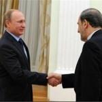 ran's Ali Akbar Velayati (R) shakes hands with Russian President Vladimir Putin before a meeting in Moscow on January 28, 2015. (Photo Credit: TasnimNews.)