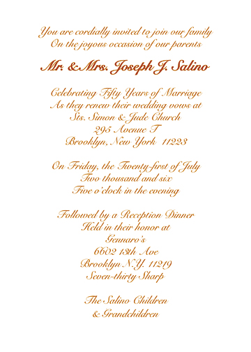 Golden Anniversary Invitation