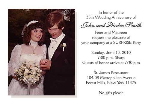 Thirty Fifth Wedding Anniversary Party Invitation