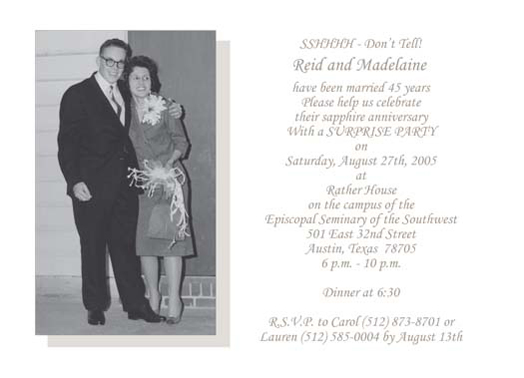Fifty Fifth Wedding Anniversary Party Invitation 45th