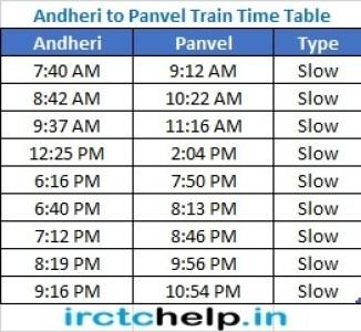 Andheri to Panvel Mumbai Local latest Train Time Table