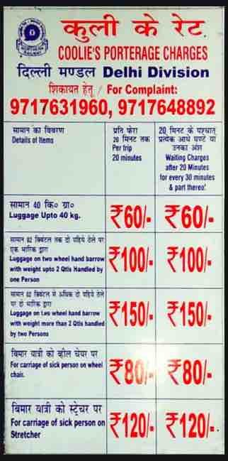 Porterage Charges at Delhi Division Stations