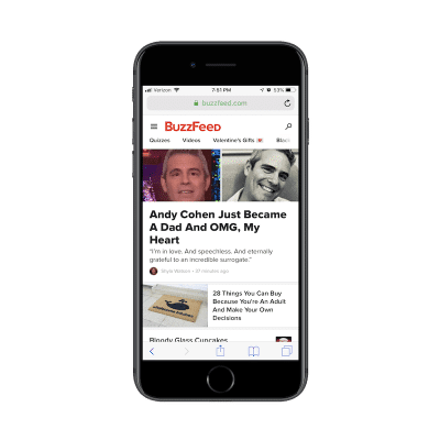BuzzFeed mobile navigation