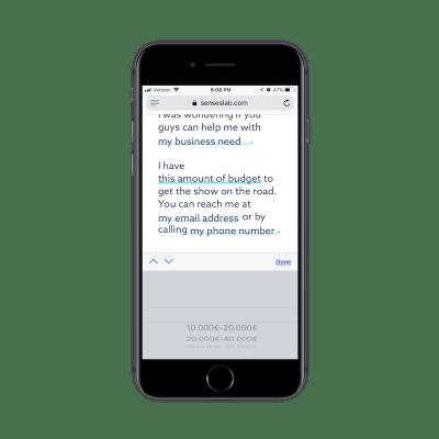 SensesLab contact form fields