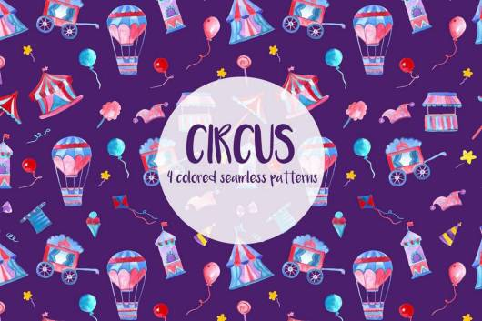 Free Watercolor Circus Vector Seamless Pattern