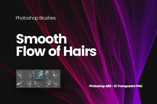 Digital Smooth Flow of Hairs Photoshop Brushes