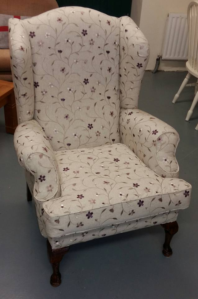 Queen Anne chair reupholstered