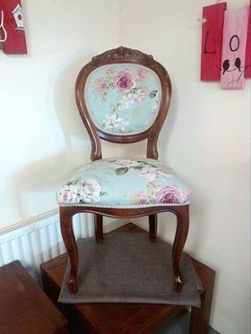 balloon back chair restored and reupholstered