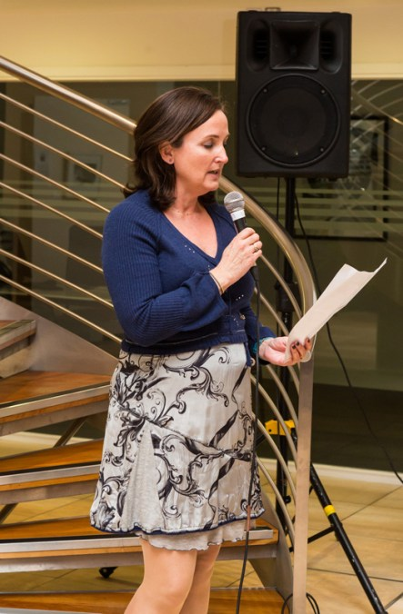 Michelle Walshe reading her prize winning Flash Fiction entry L'étoile at Songs and Stories photo Jim McSweeney